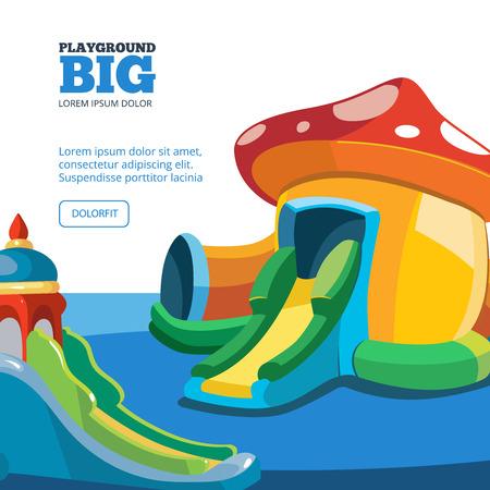 brincolin: Ilustración del vector de castillos hinchables y colinas niños en patio. Cuadros para su proyecto de diseño personal con el lugar para su texto. diseño de portada Vectores