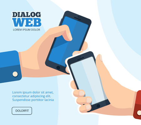 Web dialog, chatting. vector pictures set of two hands with smartphones. Pictures with place for your personal design on the screen. Isolate on white background Illustration