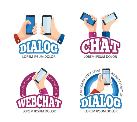 palmtop: vector pictures   with hands holding smartphone. Emblem design of web chatting. Pictures with place for your personal design on the screen. Isolate on white background