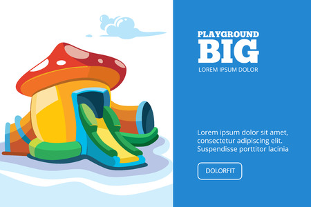 place for children: Vector illustration of inflatable castles and children hills on playground. Picture for cover, or your personal design project with place for your text