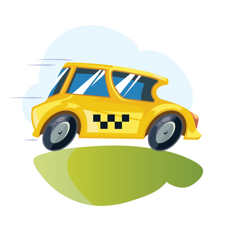 vector cartoon ilustration of yellow taxi car isolate on white background. Illustration