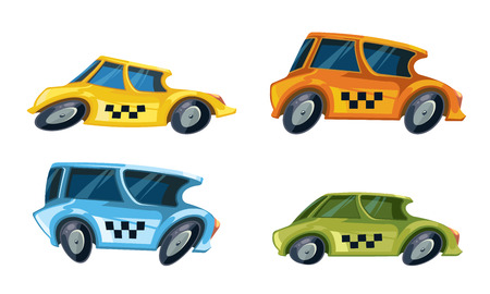 ilustrations: vector cartoon ilustrations of diferent color taxi cars set isolate on white background.