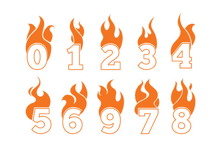 third birthday: vector orange icons set of Flaming Numbers. Pictures isolate on white background. Illustrations for your personal emblems or logo design