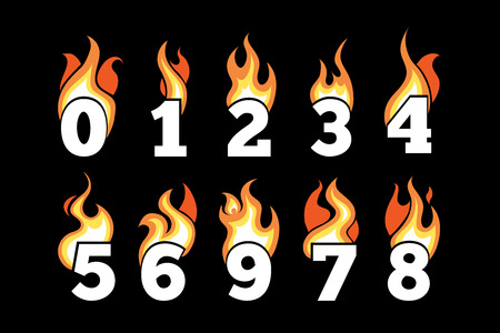 third birthday: vector icons set of Flaming Numbers. Pictures isolate on dark background. Illustrations for your personal emblems or logo design