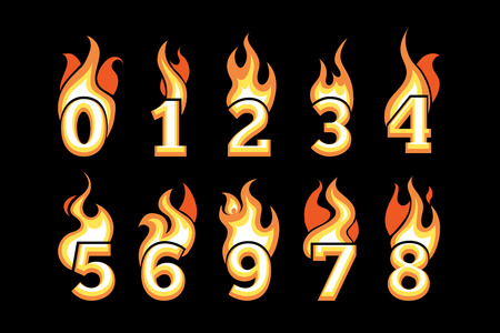 third birthday: vector cartoon icons set of Flaming Numbers. Pictures isolate on black background. Illustrations for your personal emblems or logo design Illustration