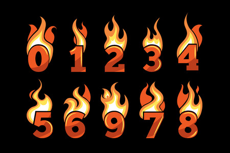 vector realistic icons set of Flaming Numbers. Pictures isolate on dark background. Illustrations for your personal emblems or logo design Illustration
