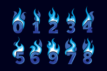 ice pack: vector cartoon icons set of blue Flaming Numbers. Pictures isolate on black background. Illustrations for your personal emblems or logo design