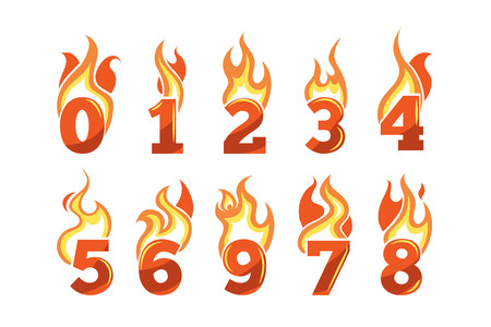 third birthday: vector cartoon icons set of orange Flaming Numbers. Pictures isolate on light background. Illustrations for your personal emblems or logo design