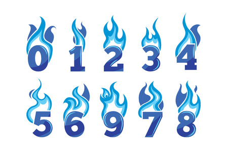 third birthday: vector cartoon icons set of blue Flaming Numbers. Pictures isolate on white background. Illustrations for your personal emblems or logo design Illustration