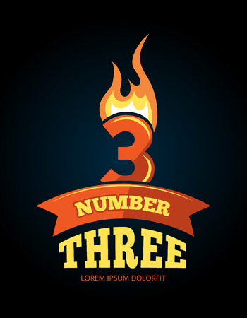 third birthday: vector cartoon label of Flaming Number three. Pictures isolate on dark background. Illustrations for your personal emblems or logo design