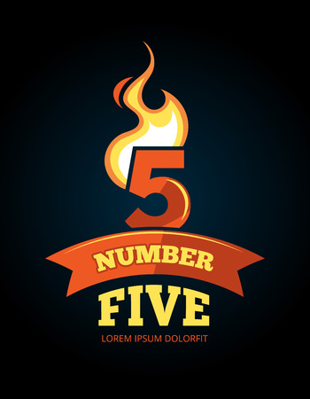 numerical value: vector cartoon label of Flaming Number five. Pictures isolate on dark background. Illustrations for your personal emblems or logo design Illustration