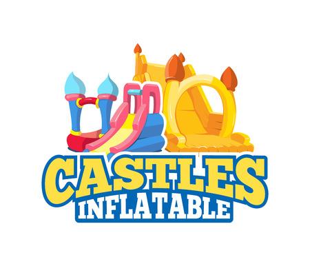 emblema de la historieta del vector de castillos hinchables y colinas niños en patio. Cuadros para su proyecto de diseño personal con el lugar para su texto. Aislar sobre fondo claro Ilustración de vector