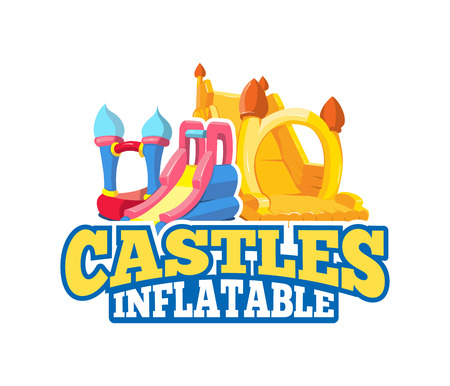 Vector cartoon emblem of inflatable castles and children hills on playground. Pictures for your personal design project with place for your text. Isolate on light background Stock Vector - 61123215
