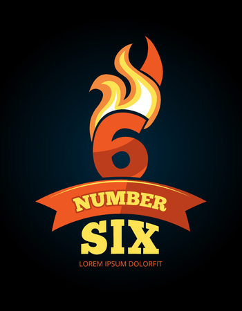 sixth birthday: vector cartoon label of Flaming Number six. Pictures isolate on dark background. Illustrations for your personal emblems or logo design