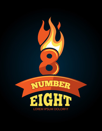 numerical value: vector cartoon label of Flaming Number eight. Pictures isolate on dark background. Illustrations for your personal emblems or logo design