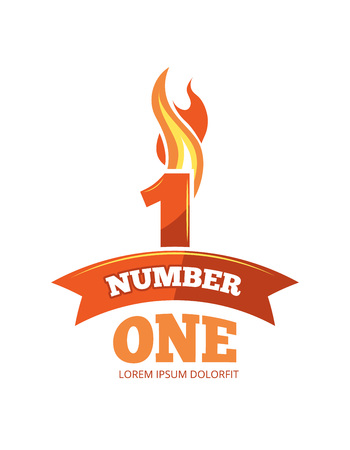 vector cartoon label of Flaming Number one. Pictures isolate on white background. Illustrations for your personal emblems or logo design
