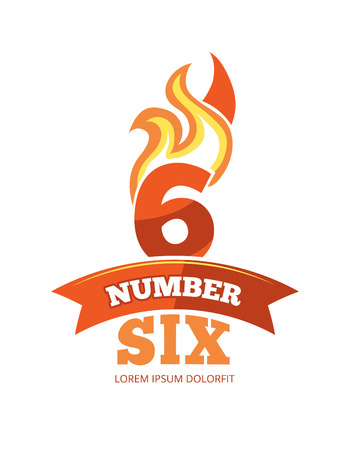 sixth birthday: vector cartoon label of Flaming Number six. Pictures isolate on white background. Illustrations for your personal emblems or logo design Illustration