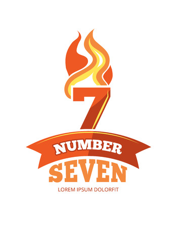 vector cartoon label of Flaming Number seven. Pictures isolate on white background. Illustrations for your personal emblems or logo design