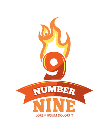 ninth birthday: vector cartoon label of Flaming Number nine. Pictures isolate on white background. Illustrations for your personal emblems or logo design Stock Photo