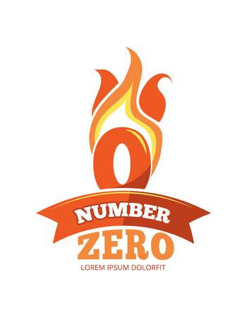 vector cartoon label of Flaming Number zero. Pictures isolate on white background. Illustrations for your personal emblems or logo design Stock Photo