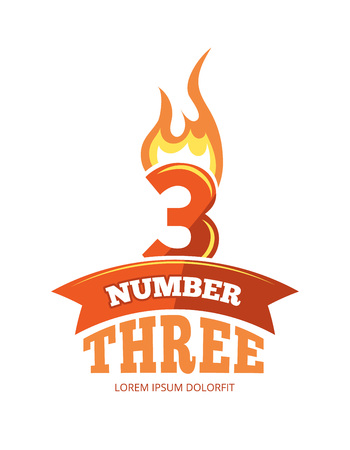numerical value: vector cartoon label of Flaming Number three. Pictures isolate on white background. Illustrations for your personal emblems or logo design Stock Photo