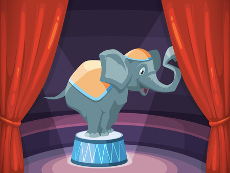circus arena: vector background illustration with red curtain and big elephant on arena of circus. Decoration frame for your design project.