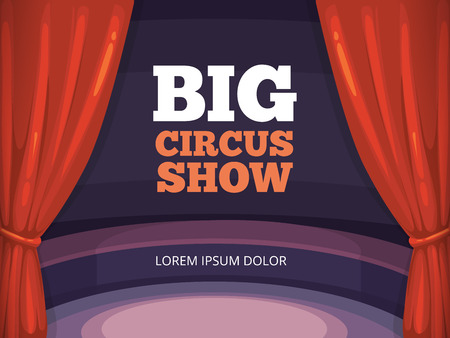 expansive: vector background illustration with red curtain and big arena of circus. Picture with place for your text. Isolate on dark background. Decoration frame for your design project.