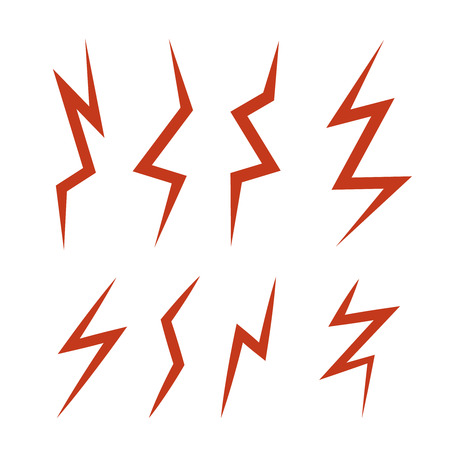 vector cartoon illustration set of red Lightning Bolts. game ui elements isolated on white background Illustration