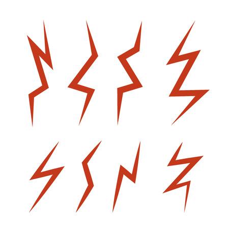 dazzling: vector cartoon illustration set of red Lightning Bolts. game ui elements isolated on white background Illustration
