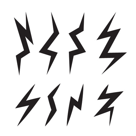 glimmering: vector cartoon illustration set of monochrome Lightning Bolts. game ui elements isolated on light background