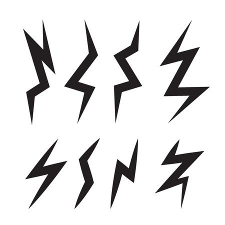powerful creativity: vector cartoon illustration set of monochrome Lightning Bolts. game ui elements isolated on light background