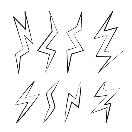 glimmering: vector cartoon illustration set of linear Lightning Bolts. game ui elements isolated on white background