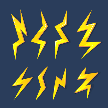 vector cartoon glossy illustration set of Lightning Bolts. game ui elements isolated on dark background