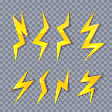 dazzling: vector cartoon illustration set of golden Lightning Bolts. game ui elements isolated on transparent background