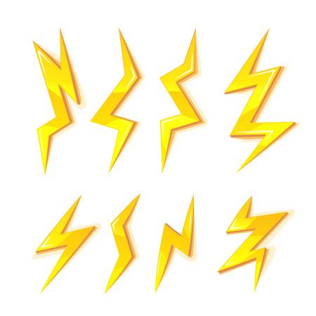 powerful creativity: vector cartoon illustration set of gold Lightning Bolts. game ui elements isolated on white background