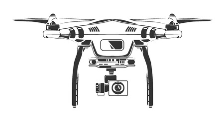 spy camera: Vector monochrome picture of drone with spy camera. Picture front view. Illustration for labels, badges  design. Isolate on white background Stock Photo