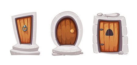 doorframe: vector Illustration set of cartoon medieval entrance doors from wood. Pictures for 2D game design. Various forms. Isolate on white background