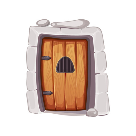 vector Illustration of medieval door from a prison cell. wood material. Picture for 2D game design. Isolate on white background Illustration