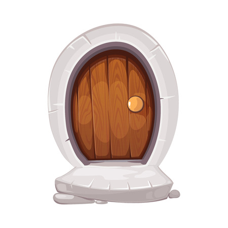 vector Illustration of round small door with handle and old porch steps. wood material. cartoon Picture for 2D game design. Isolate on white background