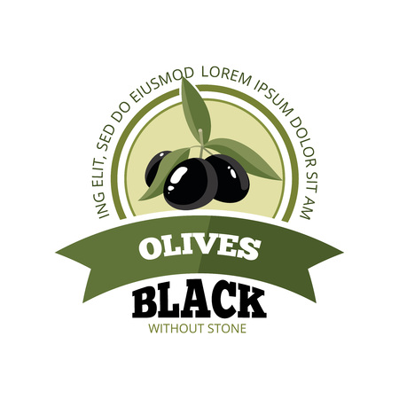 italian tradition: vector emblem of three black Olives with leafs isolate on light background. Pictures for your personal design project. Template for  badges, emblems or label design. Illustration