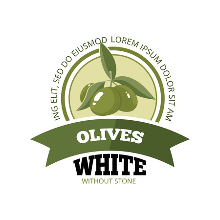 vector emblem of three white Olives with leafs isolate on light background. Pictures for your personal design project. Template for  badges, emblems or label design. Illustration