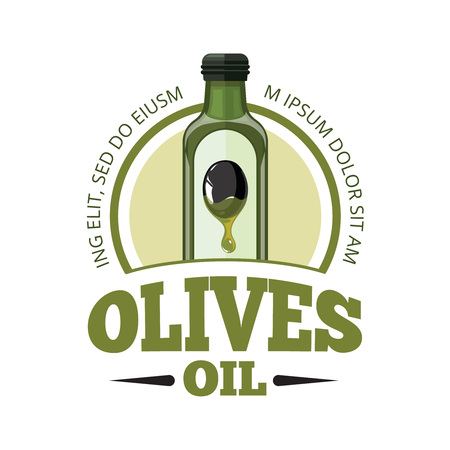 vector emblem of bottle with Olives oil. isolate on light background. Picture in modern flat style for your personal design project. Template for  badges, emblems or label design. Illustration
