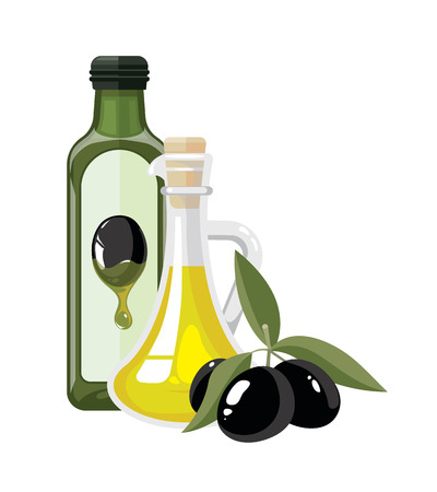 vector illustration of two bottles with olive oil and three black olives with leaf. Composition for your personal design project isolate on white background. pictures tamplate for cover of magazin. Illustration