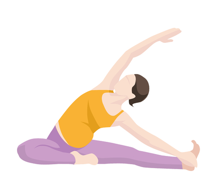 planking: vector illustration of Pregnant Woman Exercise, Yoga, Planking Or Stretching. Picture in modern flat style isolate on white background