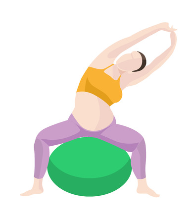 balance ball: vector illustration of Pregnant Woman Exercise, Yoga with Balance Ball. Picture in modern flat style isolate on white background