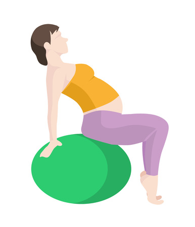 vector illustration of Pregnant Woman Exercise, Yoga with Balance Ball. Picture in modern flat style isolate on white background