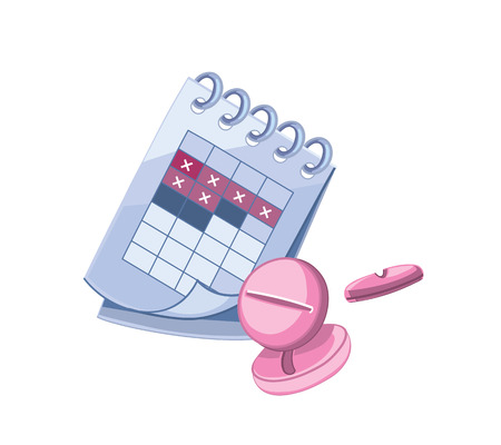 contraceptive: Vector icons of gynecology pictures. Illustrations of periods calendar and contraceptive tablets Illustration