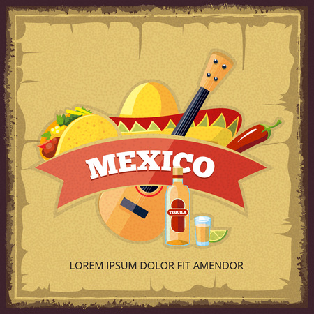 Vector vintage poster with mexican food. Tacos, tequila and lime. Stock Photo