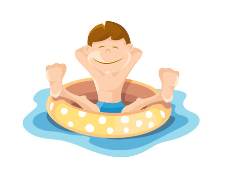 Flat picture of boy wich play and swim in the pool. Vector illustrations isolate on white background Illustration