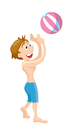 inflatable ball: Flat picture of boy wich play with inflatable ball. Vector illustrations isolate on white background